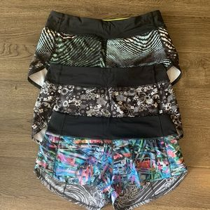 Lululemon SEAWHEEZE 3 pairs speed shorts size 6